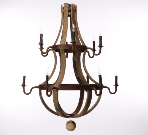 Cfrentals contemporary furniture rentals showroom two tier barrel stave chandelier mozeypictures Image collections