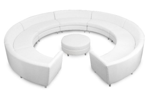 White Curved Sectional Sofa With Ottoman. Pictured Here: 1 X Left Arm, 1 X  Right Arm, 5 X Armless And 1 X Round Ottoman.