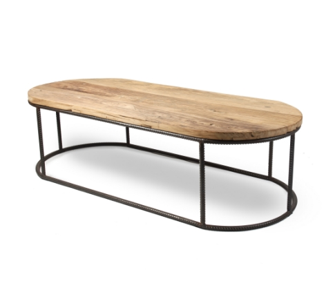 Beau Reclaimed Wood With Rebar Large Oval Coffee Table
